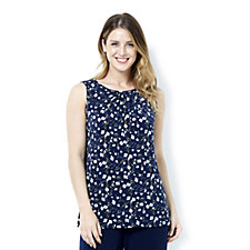 Kim & Co Brazil Knit Scattered Blossoms Sleeveless Top w/ Ruched Neckline