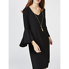 Coco Bianco 3/4 Flared Sleeve Dress with Removable Necklace