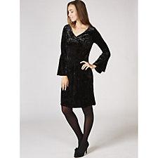 Ronni Nicole V Neck Bell Sleeve Velvet Swing Dress