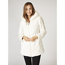 Dennis Basso Chevron Faux Fur Hooded Coat with Sequin Embellishment