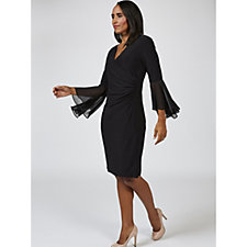 Coco Bianco Long Sleeve V Neck Wrap Dress with Fluted Cuffs