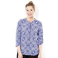 3/4 Sleeve Zip Front Printed Blouse by Nina Leonard