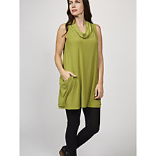 Yong Kim Stretch Jersey Sleeveless Tunic with Cowl Neck & Pocket Detail