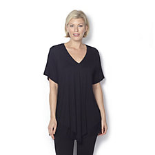 Layered Jersey Tunic with V Neck and Short Sleeves by Michele Hope