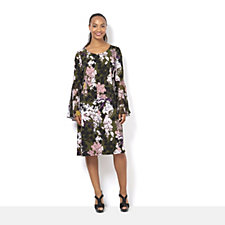 Coco Bianco Floral Printed Jersey Dress with Bell Sleeve