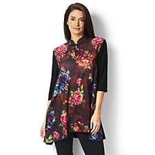 Butler & Wilson Autumnal Roses Chinese Neck Chiffon Top