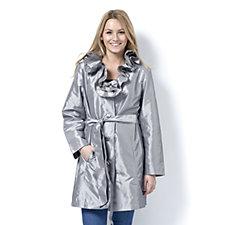 Dennis Basso Water Resistant Crinkle Metallic Ruffle Collar Trench Coat