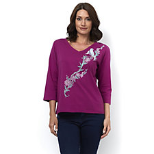 Bob Mackie 3/4 Sleeve V Neck Embroidered Top
