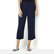 Denim & Co. Wide Leg Crop Trousers with Pockets