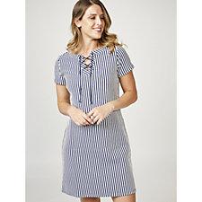 C. Wonder Short Sleeve Lace Up Neck Dress