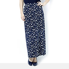 Kim & Co Brazil Knit Scattered Blossoms Maxi A-Line Skirt