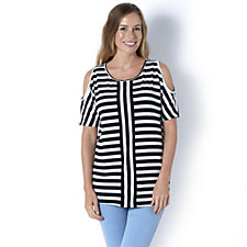Contrast Stripe Cold Shoulder Top by Nina Leonard