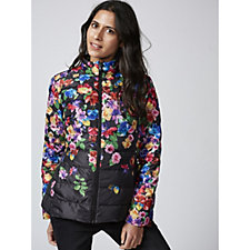 Isaac Mizrahi Live Printed Puffer Jacket with Hidden Zip Out Hood