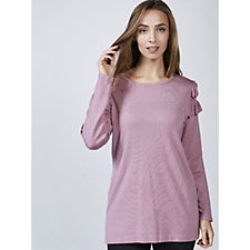 Frill Shoulder Detail Knit Tunic by Michele Hope