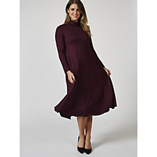 Yong Kim Long Sleeve Polo Neck Midi Dress