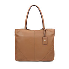 Ashwood Large Leather Shopper Bag with Crosshatch Detail