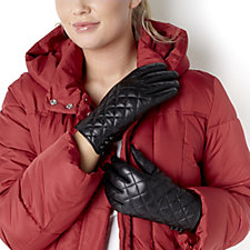 Dennis Basso Quilted Lamb Leather Gloves