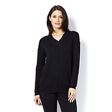 V Neck Jumper with Back Zip Detail by Michele Hope