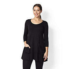 Yong Kim Modal Scoop Neck Pocket Detail Tunic