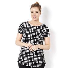 Short Sleeve Printed Top with Contrast Side Zip Detail by Nina Leonard
