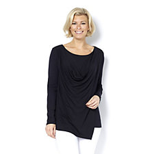 H by Halston Wrap Front Cowl Neck Top