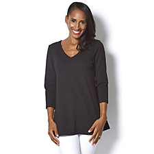 Attitudes by Renee 3/4 Sleeve Textured V Neck Tunic