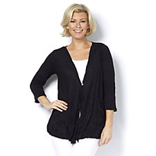 Yong Kim Crinkle Flared Hem Cardigan with Patch Pockets