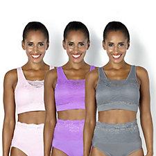 Rhonda Shear 3 Pack Lace Overlay Ahh Bra