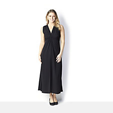 Nick Verreos Sleeveless Drape Front Jersey Maxi Dress