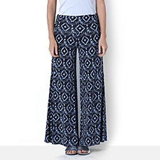 The Lisa Rinna Collection Ikat Printed Foldover Waist Palazzo Trousers