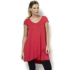 Join Clothes Cap Sleeve Jersey V Neck Tunic with Crossover Hem