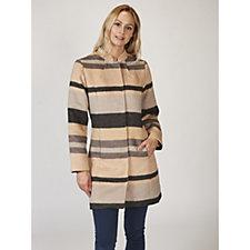 Isaac Mizrahi Live Striped Overcoat