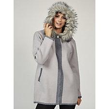 Rino & Pelle Faux Fur Trim Hooded Cardi Coat