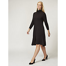 169131 - Jersey High Neck Swing Dress with Ruched Sleeves by Nina Leonard