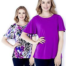 100232 - Set of Two Print & Plain Angel Sleeve Tops by Susan Graver