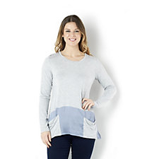 LOGO by Lori Goldstein Heather Top with Colour Block Hem and Pockets
