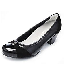 Vitaform Stretch & Velvet Goat Leather Court Shoe w/ Swarovski Detail