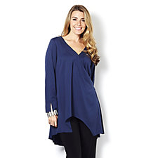 H by Halston Dip Back Wrap Front Top with Long Sleeves and Split Cuffs