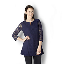 Isaac Mizrahi Live 3/4 Sleeve Mixed Lace Tunic