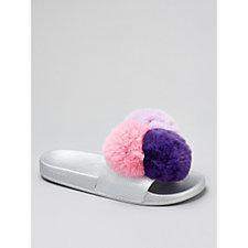 Slydes Purple Fluffy Pom Pom Slider Flip Flops