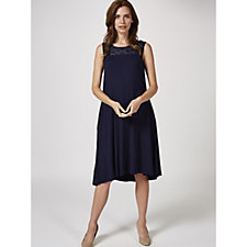 Sleeveless Chiffon Yoke Trapeze Dress by Nina Leonard