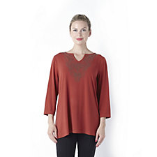 Round Neck 3/4 Sleeve Liquid Knit Embellished Tunic by Susan Graver