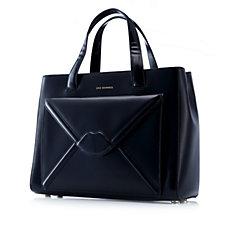 151433 - Lulu Guinness Louise Medium Polished Leather Lip Envelope Handheld Bag