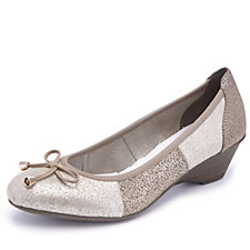 Rieker Leather Wedge Court Shoe with Bow Detail