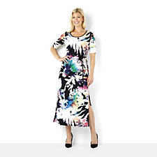 Tiana B Abstract Floral Print Maxi Dress with Belt
