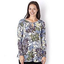 Kim & Co Pixelated Floral Brazil Knit Long Sleeve Keyhole Tunic
