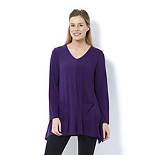 Antthony Designs Textured Jersey Dip Hem Top with Pockets