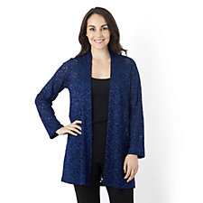Kim & Co Lacy Petunias 3/4 Sleeve Duster Cardigan