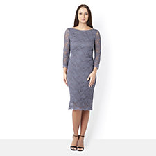 Tiana B 3/4 Sleeve Scalloped Lace Dress with Ruched Side Seam