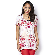 Kim & Co Floral Essence Brazil Knit Short Sleeve Tunic